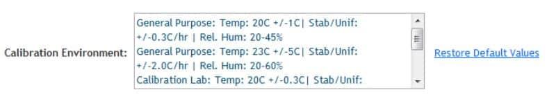 Figure 10: Calibration Environment Selection Setup