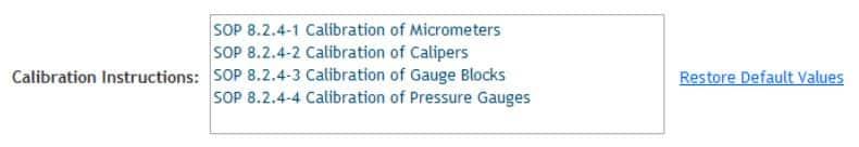 Figure 15: Calibration Instruction Selection Setup