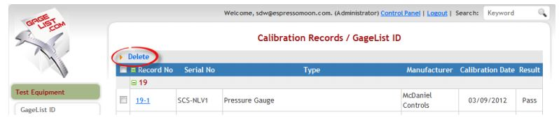 Figure 48: Delete Calibration Record from View
