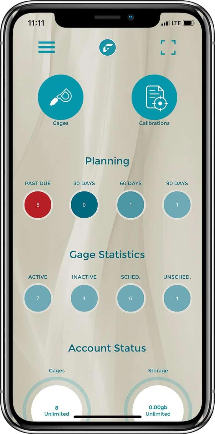 GageList mobile app dashboard screenshot